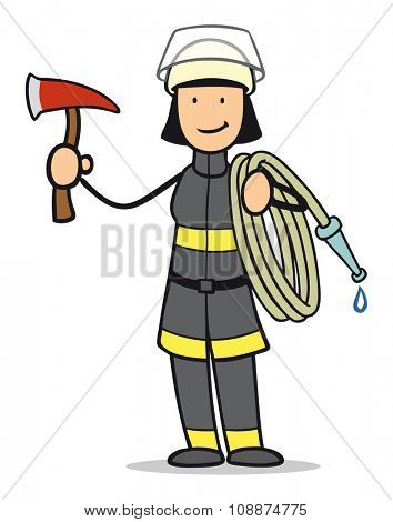 Smiling cartoon woman as firefighter with tools