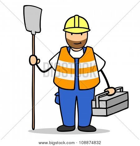 Cartoon construction worker with safety vest and gear