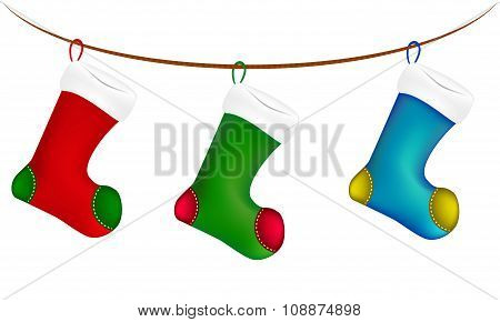 Christmas Sock Hang On Twine, Line, Rope, Icon , Symbol, Design. Winter Vector Illustration Isolated