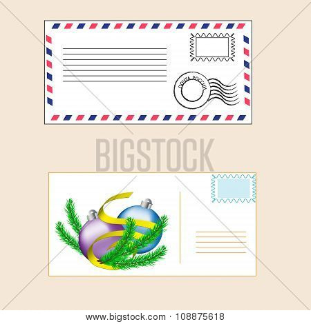 Postal Envelope With A Stamp And Festive Christmas Card