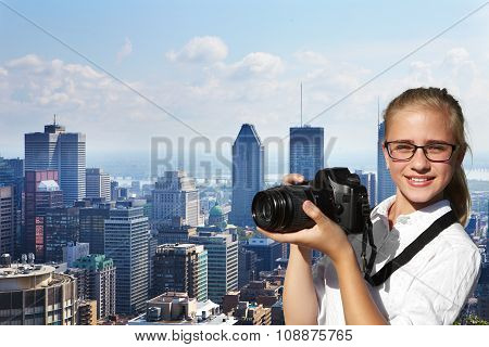 Young Photographer And Skyscrapers