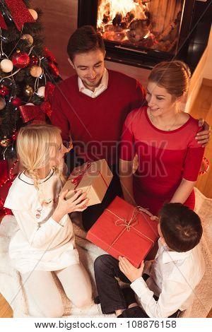 Family Spending Christmas Eve