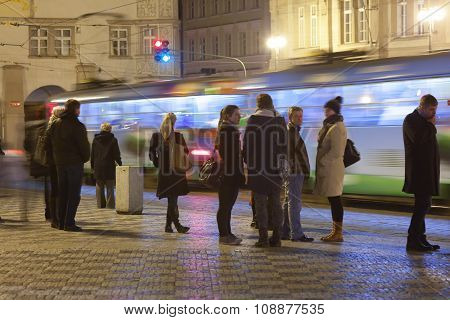 Tram Station In Prague