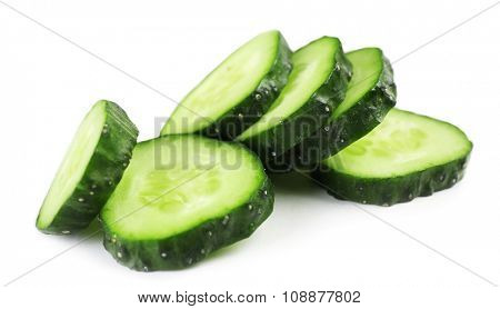 Sliced cucumbers isolated on white
