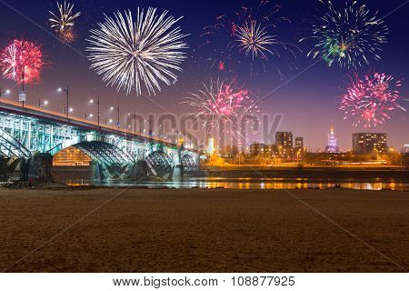 New Year fireworks display in Warsaw, Poland
