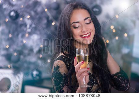 Young woman at christmas night