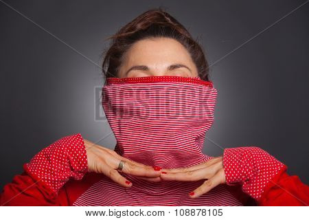 Women Hiding Her Face