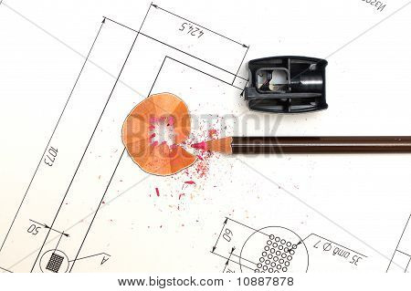 Sharpener, Pencil And Blueprints For An Architect's Design Drawings