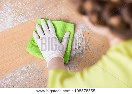 Woman Clening Floor With Wiper