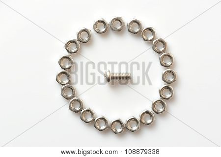 Screw And Nuts On White Background