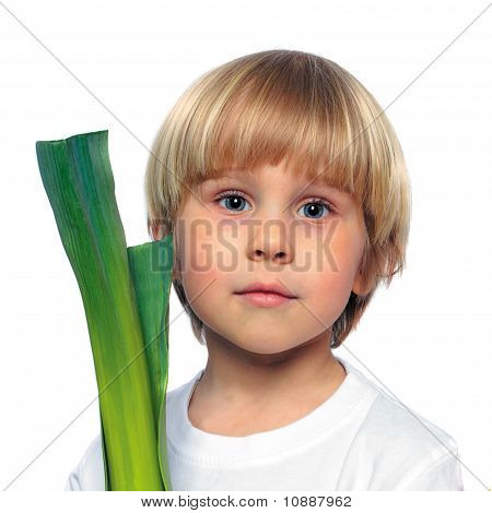 Happy Child With Green Vegetable