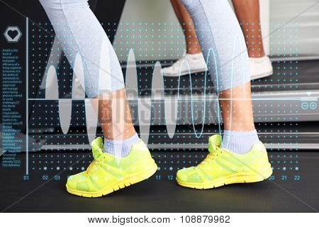Healthcare and medicine concept. Women and men feet on treadmill close-up