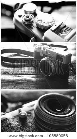 Collage of retro camera on wooden background in black and white