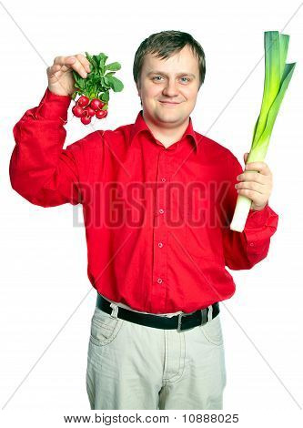 Man With Vegetable: Onion  Leek And Fresh Radish