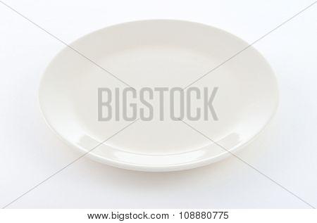 White Round Plate On White Background