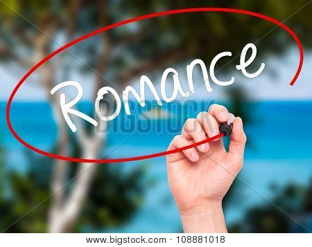 Man Hand writing Romance with black marker on visual screen.
