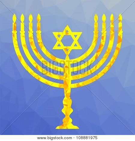 Yellow Mosaic Menorah