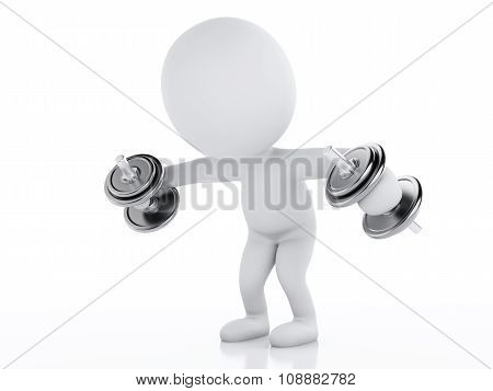 3D White People With Dumbbells. Gym Concept
