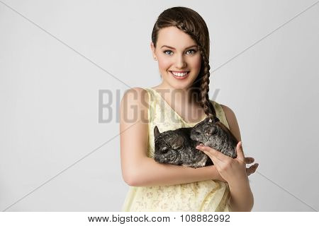 Girl with chinchillas