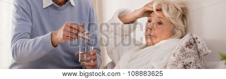 Elderly Lady Feeling Sick