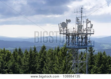 Transmitters And Aerials On The Telecommunication Tower