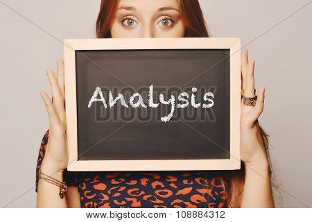 Young Woman Holding A Chalkboard Saying Analysis