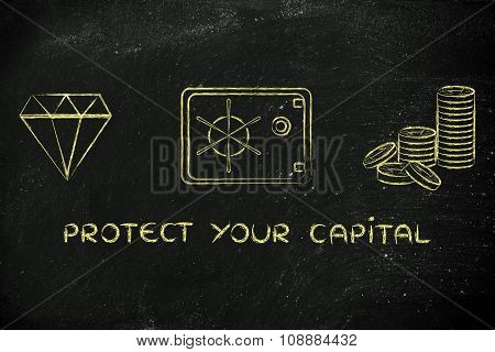 Diamond, Coins And Safe With Text Protect Your Capital