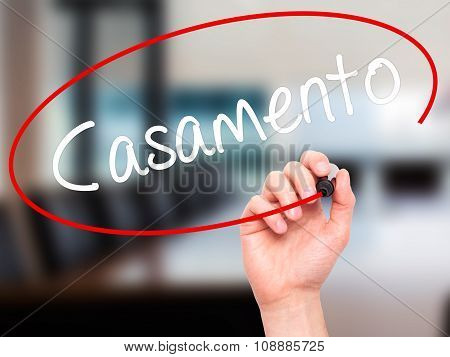 Man Hand writing Casamento (Wedding in Portuguese) with black marker on visual screen