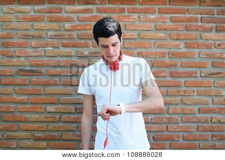 Young Man Checking The Time