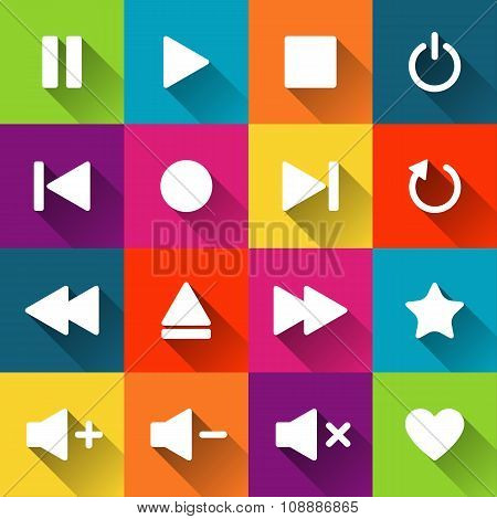 Simple media player icons on the colored tiles