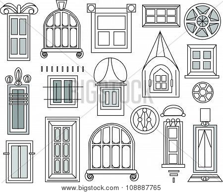 Windows and doors set for City houses, detailed doodle