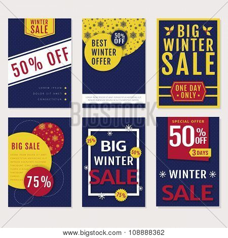 Winter Sale Banners. Vector Set.