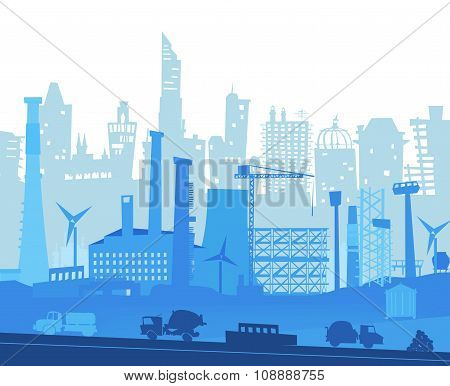 City illustration with industrial site and lorries