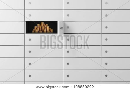 White Safe Deposit Boxes In A Bank. There Are Gold Coins Inside Of A One Box. A Concept Of Storing O