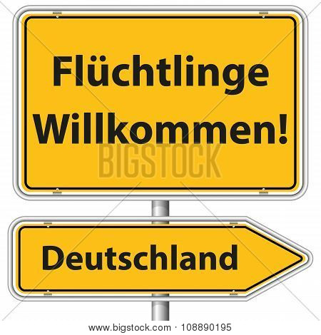 Illustration Vector Graphic Road Sign Refugees Germany