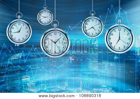Four Models Of Pocket Watches Are Hovering In The Air Over Financial Graphs Background. A Concept Of