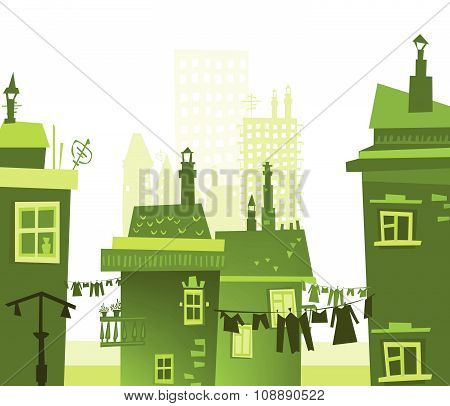 City street, abstract background with modern and old buildings