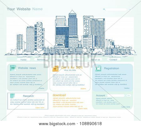 Web page template with capital illustration Web page template with capital illustration