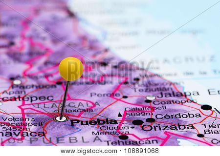 Puebla pinned on a map of Mexico