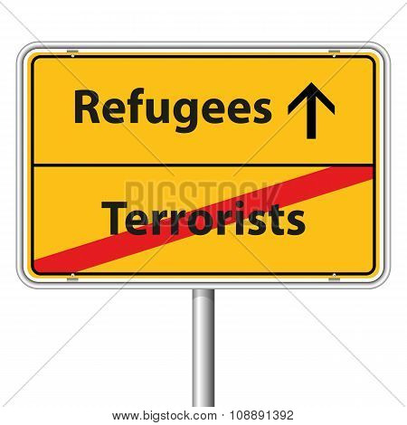 Illustration Vector Graphic Road Sign Refugees