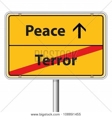Illustration Vector Graphic Road Sign Peace