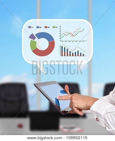 Tablet And  Think Box With Stock Chart