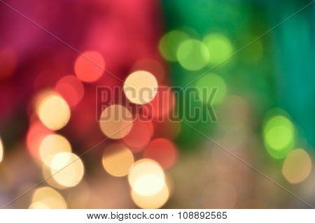 Happy Pink And Green Bokeh Christmas Lights