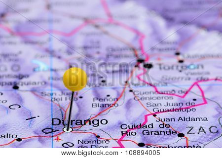 Durango pinned on a map of Mexico