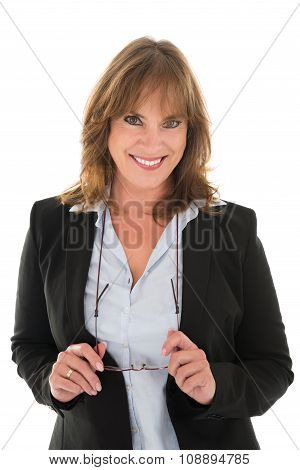 Portrait Of Happy Woman In Casuals