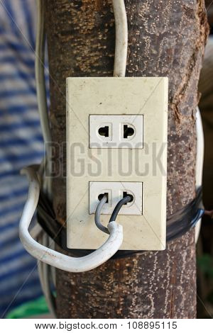 Plug Socket And Cable Connecting On Wooden,it's Very Dangerous