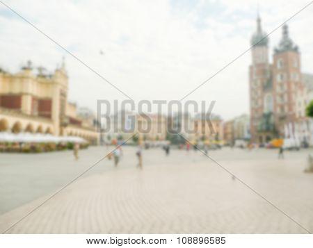 Defocused Background Of Rynek Glowny, Main Square In Krakow, Poland