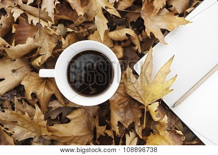 Autumn Leaves With Cup Of Coffee And Notebook