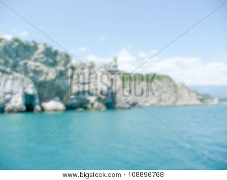 Defocused Background Of Yalta. Intentionally Blurred Post Production
