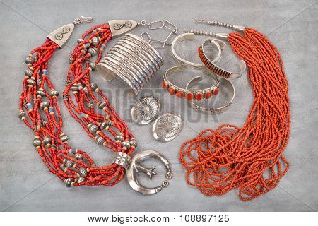 Silver and Coral Native American Jewelry.